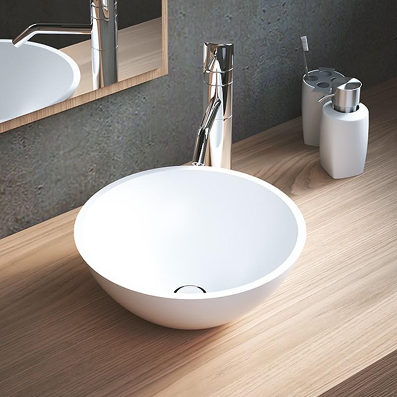 Vasque A Poser Ronde 30 Cm En Solid Surface Bolla Vasques A Poser Solid Surface Vasques