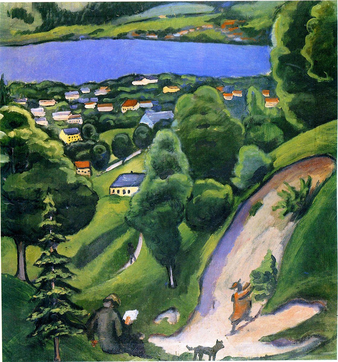 """August Macke, """"Paesaggio sul Tegernsee con un uomo che legge"""", 1910"""