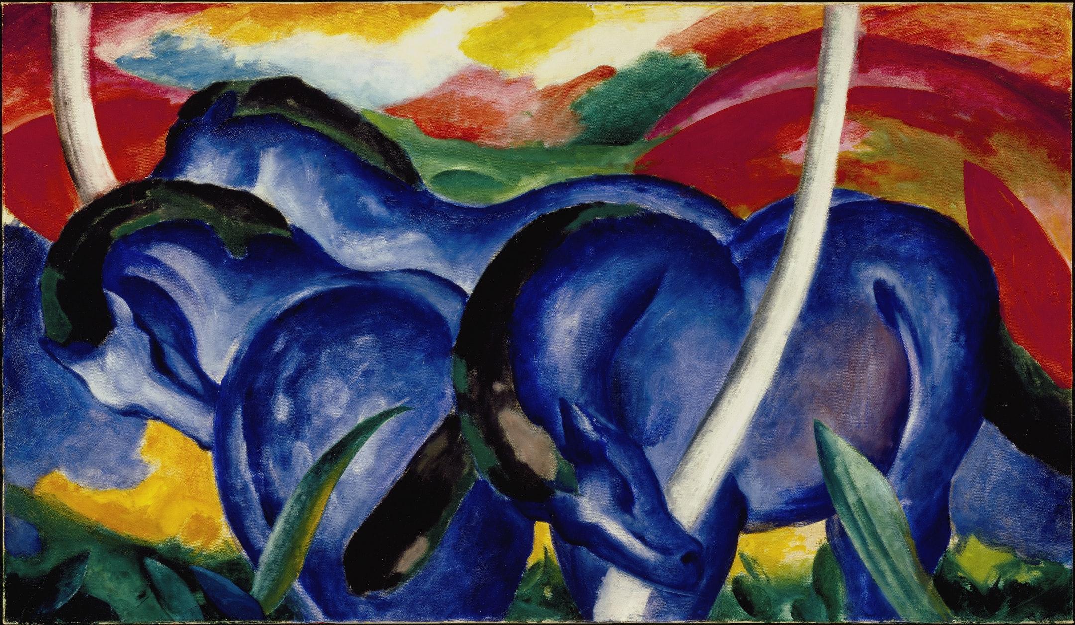 """Franz Marc, """"Grandi cavalli blu"""", 1911"""