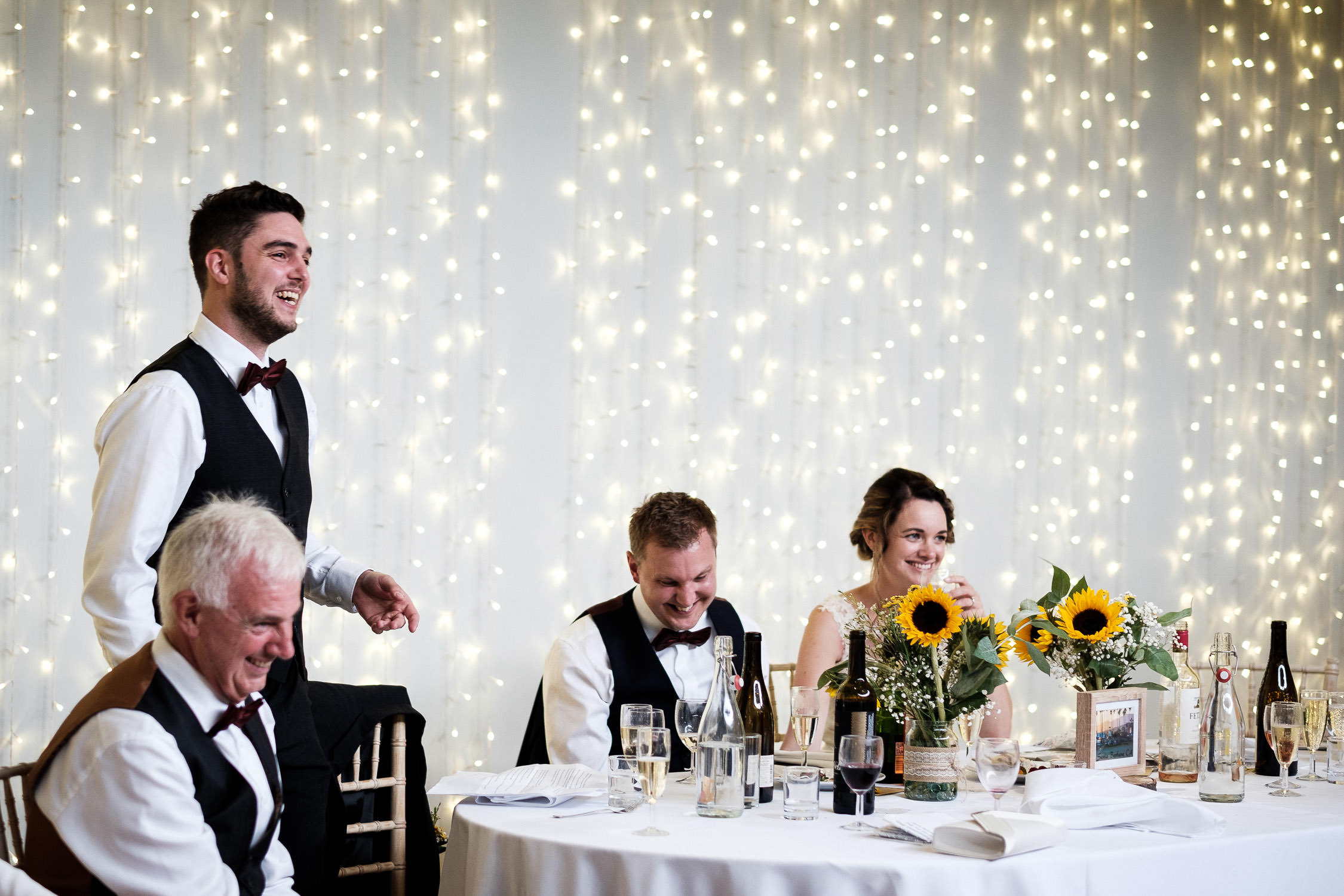 the best man makes the groom laugh with speech