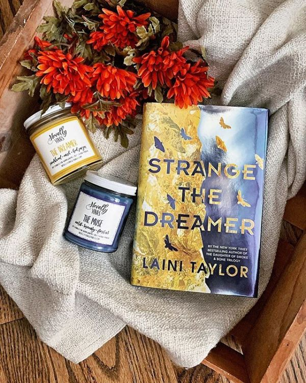 The Dreamer & The Muse soy candles, Strange the Dreamer book