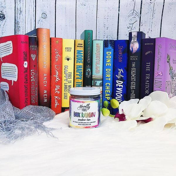 Book Rainbow soy candle