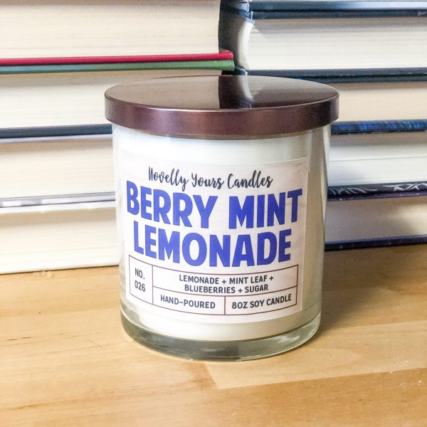 soy wax candle scented like lemonade and blueberry