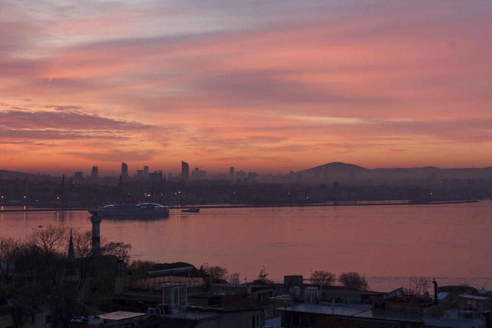Istanbul sunrise looking across the Golden Horn
