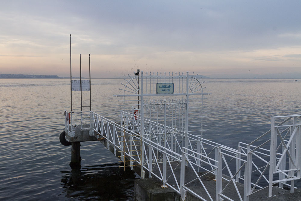 Dock along the Bosphorus waterfront, Istanbul, Turkey.
