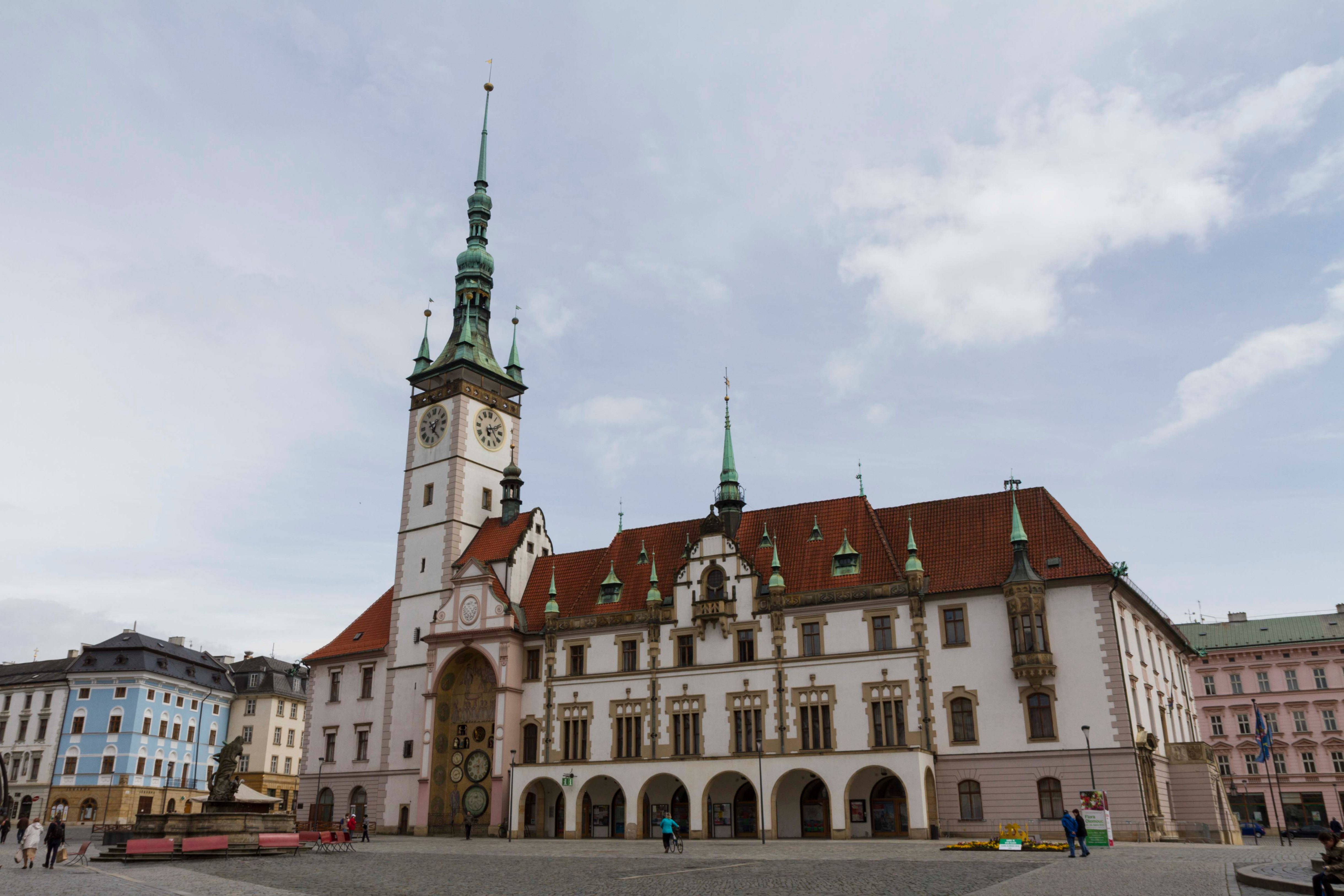 Olomouc City Hall, with Astronomical Clock on the left.