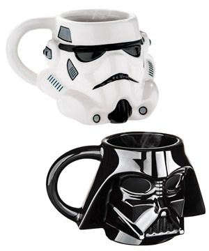 Ceramic mugs in the shape of dark side warriors