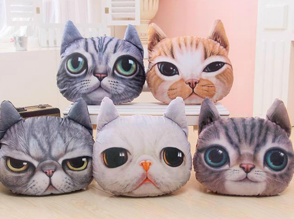 3D Plush Cat Head Shape Pillow