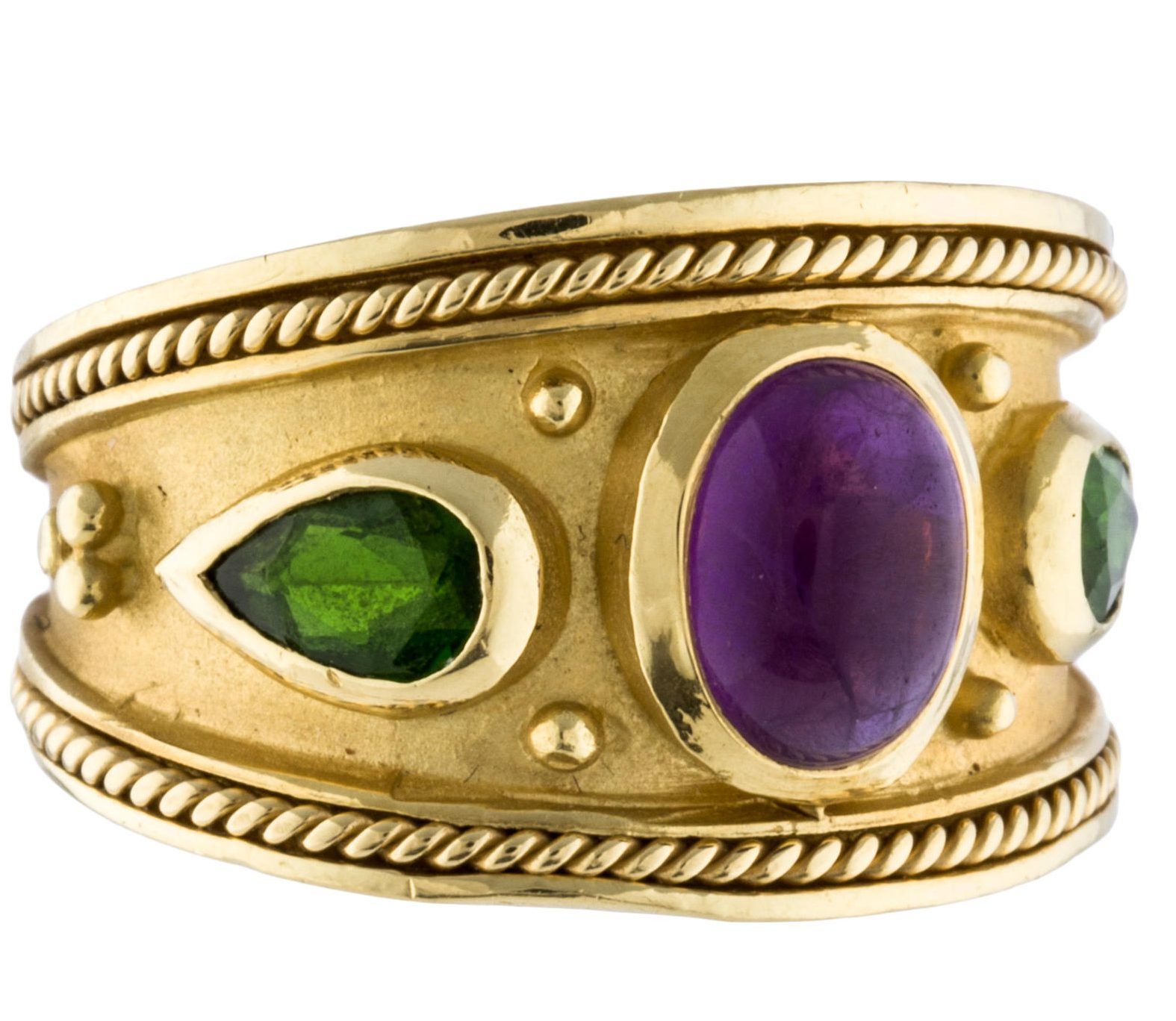 18K Amethyst And Tourmaline Band Ring