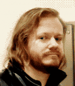 A low-resolution photograph of Asher Wolfstein in the style of a classic adventure-style computer game.