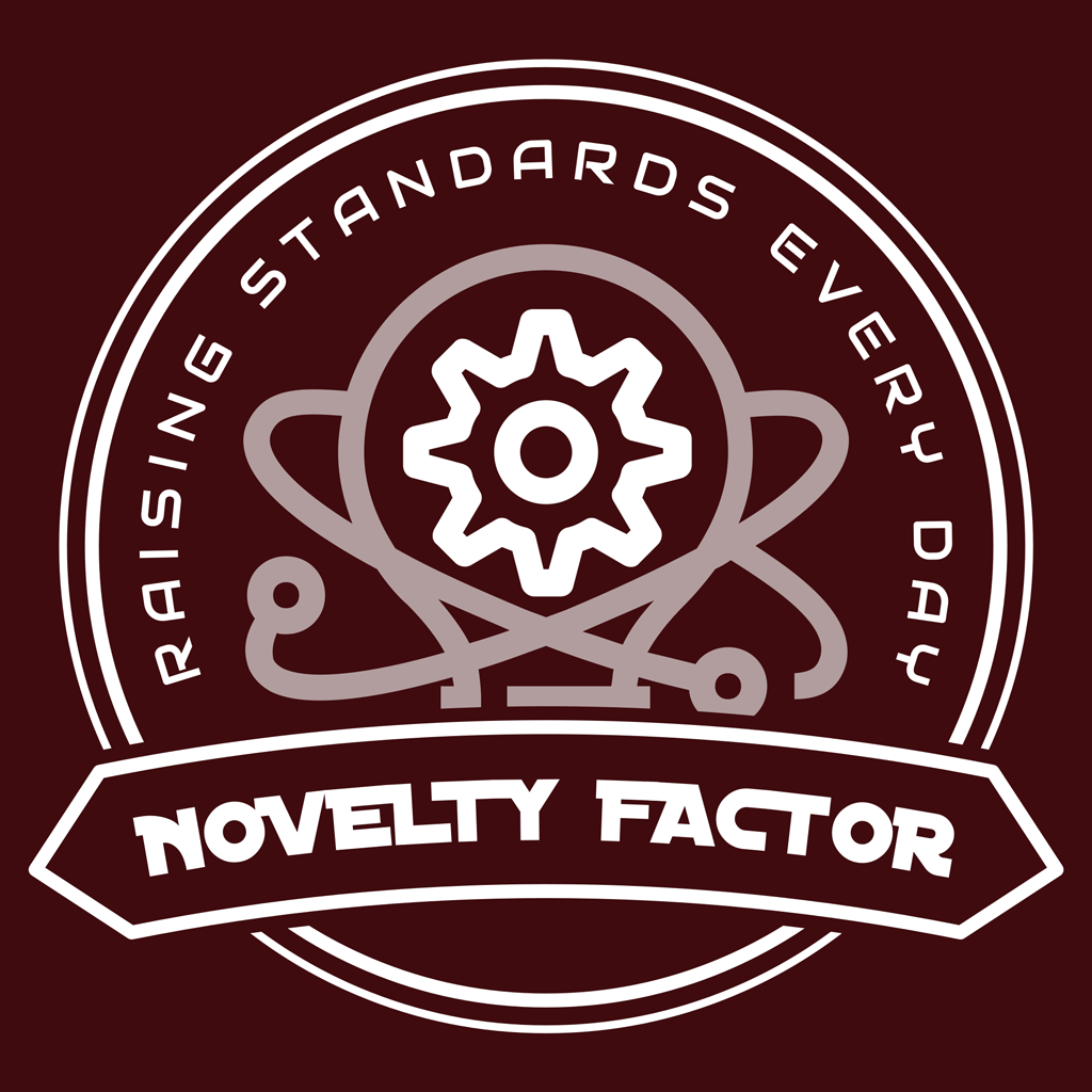 """The Novelty Factor's LLC's logo featuring a lightbulb with electrons around it and a gear in the center. The words read, """"Novelty Factor: Raising Standards Every Day."""""""