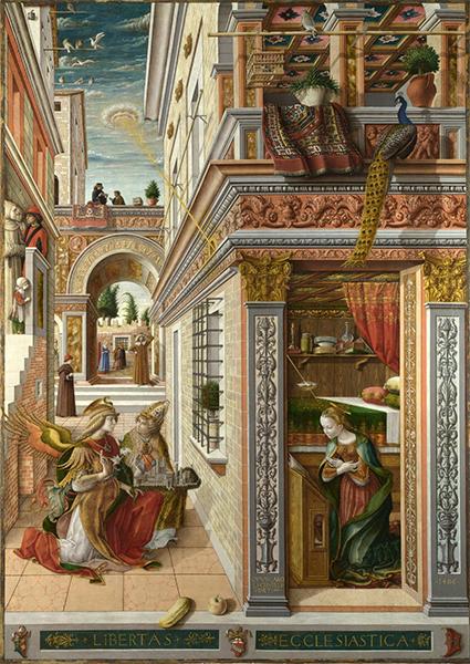 The Annunciation, with Saint Emidius - Carlo Crivelli