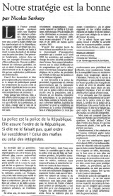 06.11.2005 - Tribune Sarkozy, Le Monde