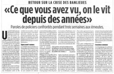 """07.12.2005 - """"Ce que vous avez vu, on le vit depuis des années"""", Libération"""
