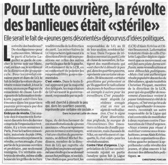 """16.12.2005 - Pour Lutte ouvrière, la révolte était """"stérile"""", Libération"""