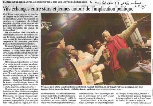 22.12.2005 Vifs échanges entre stars et jeunes, Le Monde