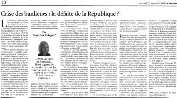 23.11.2005 - La défaite de la république ?, Le Figaro