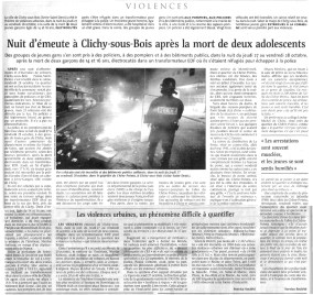 29.10.2005 - Nuit d'émeutes à Clichy, Le Monde