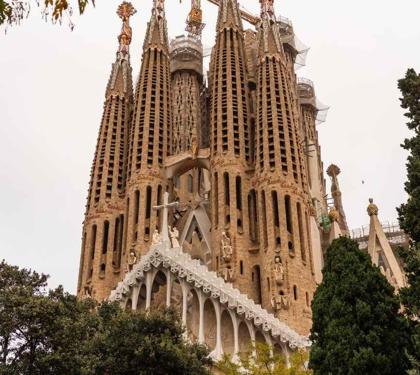 facade of sagrada familia church in city