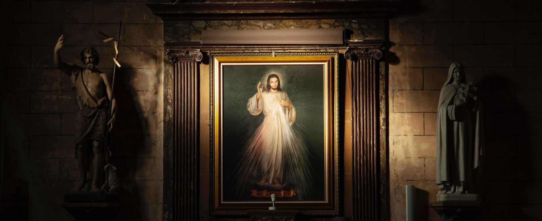 sacred heart of jesus painting with brown frame