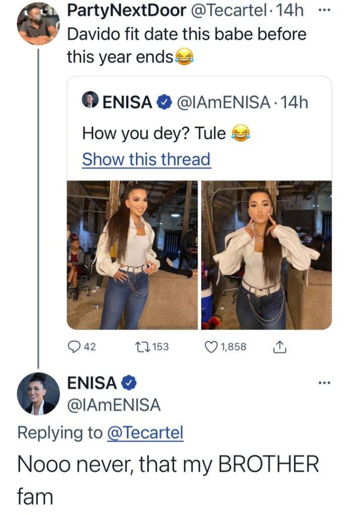 """I Can Never Date Davido"" – American Singer, Enisa Makes A Shocking Declaration"