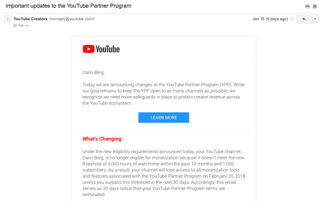 Email about YouTube Partner Program changes