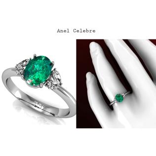 Anel Celebre é um modelo de Joia com requinte e luxo. Esta joia exalta a beleza de uma Esmeralda de 95 pontos, rodeada de 4 diamantes em forma de gota que somam 32 pontos. O design desta joia permite que a junção de cada dois diamantes gota formem um Coração. Uma joia desenvolvida para mulheres elegantes. https://www.casasaopaulojoias.com.br/produto/736200/celebre-anel-de-formatura-de-ouro-branco-com-esmeralda