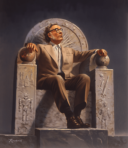 Isaac Asimov on Throne by Rowena Morrill