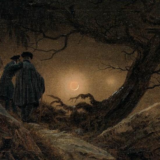 Dos hombres contemplando la luna de Caspar David Friedrich Noviembre Nocturno la cruz del diablo de Gustavo Adolfo Bécquer