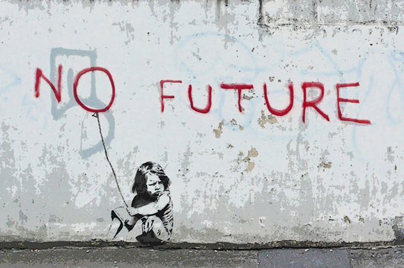 No Future Girl Balloon by Banksy