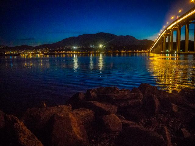 kunanyi (Mount Wellington) and the Tasman Bridge, Hobart, Tasmania