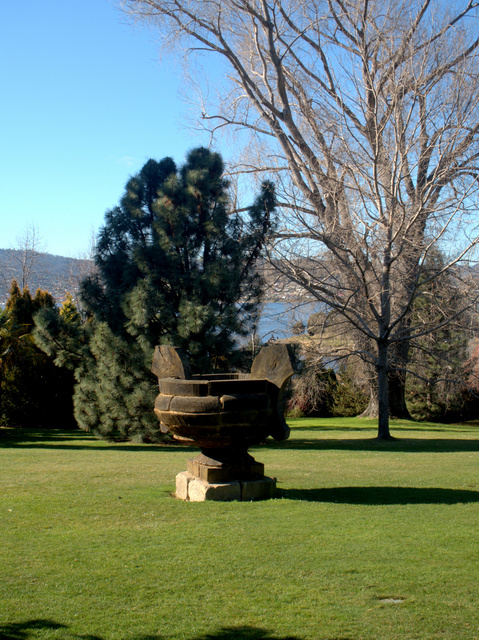 A memorial to a much loved blue gum by sculptor Marcus Tatton, at the Royal Tasmanian Botanical Gardens