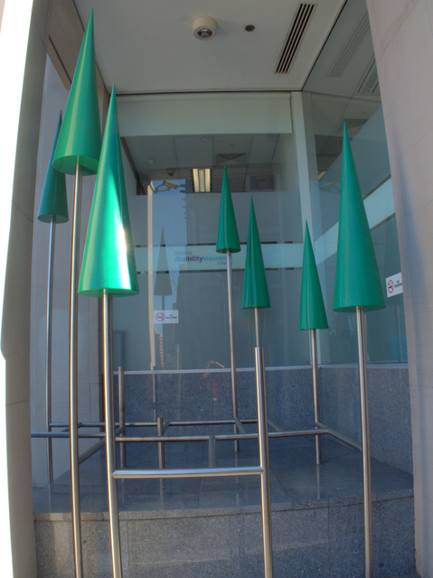 Spring, Dean Chatwin 2008. Fibreglass and stainless steel, located at 111 Macquarie Street