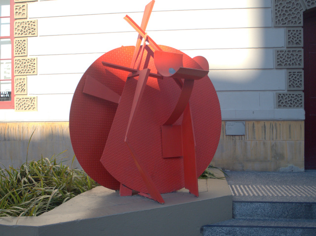 Bright Prospect, Ian McKay 1990, Bright Steel, located outside the Tasmanian Museum and Art Gallery on Macquarie Street