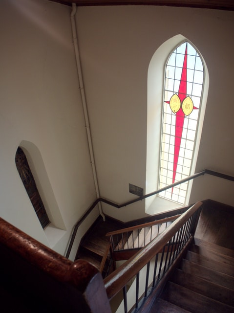 Steps up to the bell tower of Holy Trinity