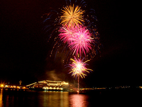 Fireworks over Hobart's waterfront