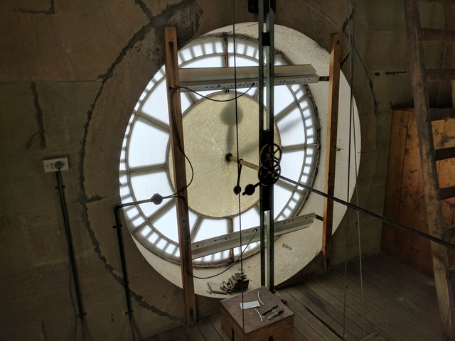 One of the four clock faces from inside the tower