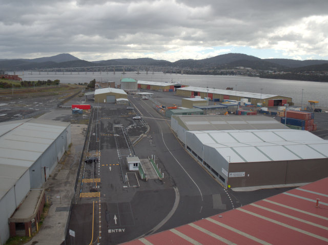Container terminal and Tasman Bridge from the Tasports Tower on Hobart's waterfront