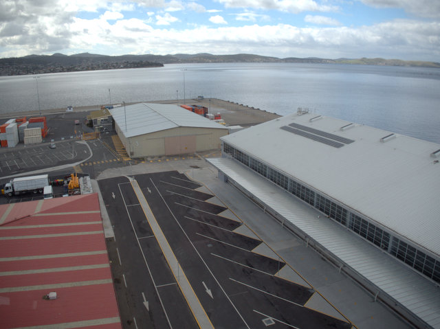 Macquarie Wharf from the Tasports Tower on Hobart's waterfront
