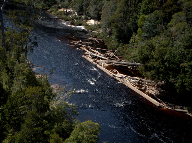 Logs and detritus, the results of winter flooding across Tasmania