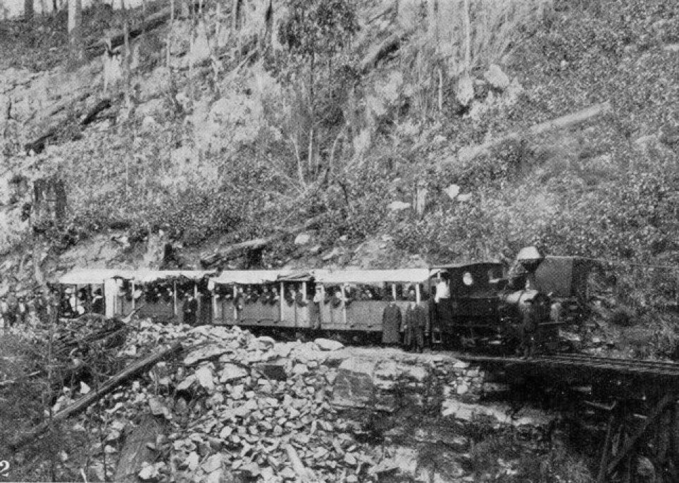 Sandfly Colliery Tramway circa 1907. Stopping to water the Krauss 2-4-0T. R J Batt photo via Flickr user Traniac - https://www.flickr.com/photos/29903115@N06/14247312108