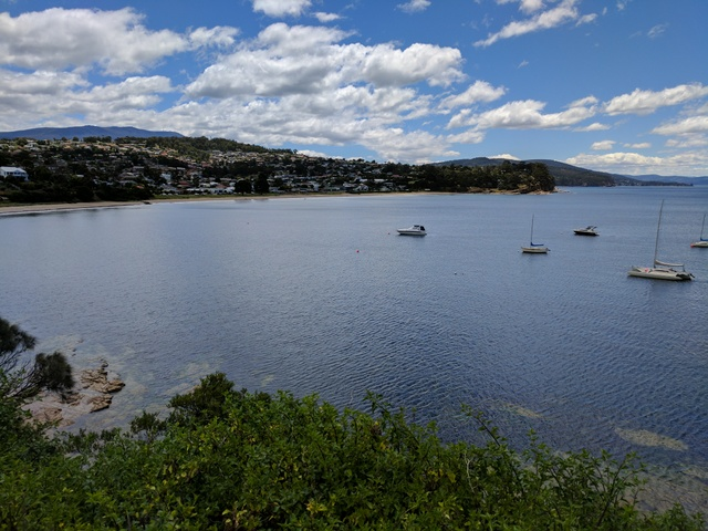 Plenty of boats in Blackmans Bay, seen from near the start of the track