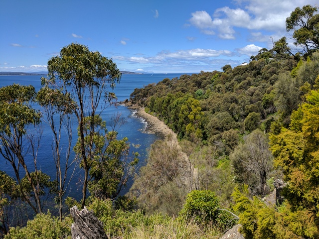 The view across to South Arm from the Suncoast Headlands Track at Blackmans Bay