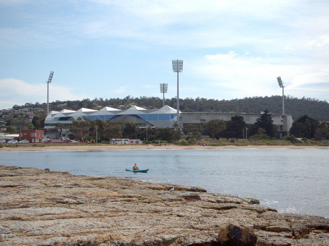 Bellerive Oval (currently referred to as Blundstone Arena) and beach from Bellerive Bluff