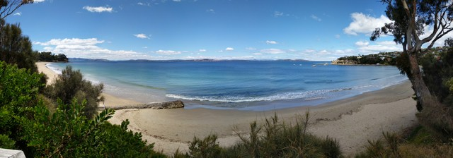 Panorama view of Blackmans Bay Beach