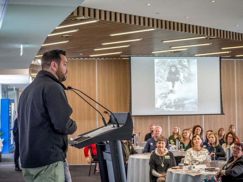 Dwayne Everett-Smith welcomes delegates to country at the 2018 Destination Southern Tasmania Summit