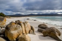 The Bay of Fires from Binalong Bay, near St Helens on the upper east coast of Tasmania.
