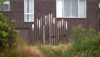 This display of old oars is on a shack at Cockle Creek, at the end of the road as far south as it's possible to drive within Australia. They are presumably single oars remaining from former pairs, separated by storms, mishaps, age or circumstance.