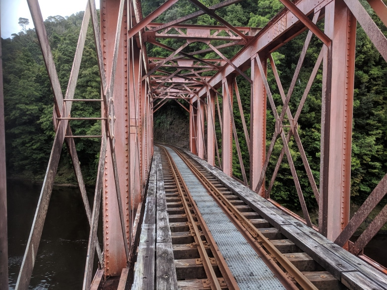 Iron Bridge over the King River along the West Coast Wilderness Railway line