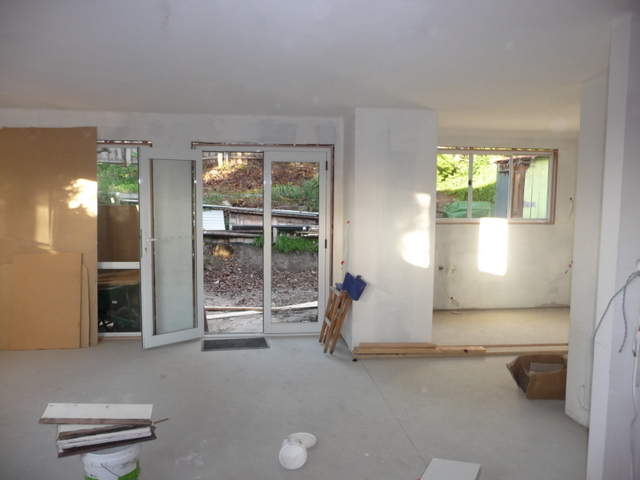 Dining room into kitchen with new plasterboard